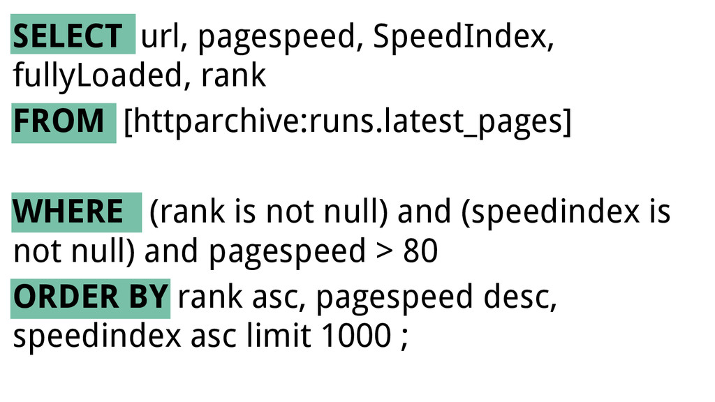 SELECT url, pagespeed, SpeedIndex, fullyLoaded,...