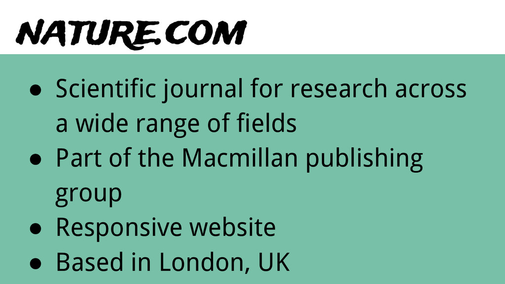 nature.com ● Scientific journal for research ac...