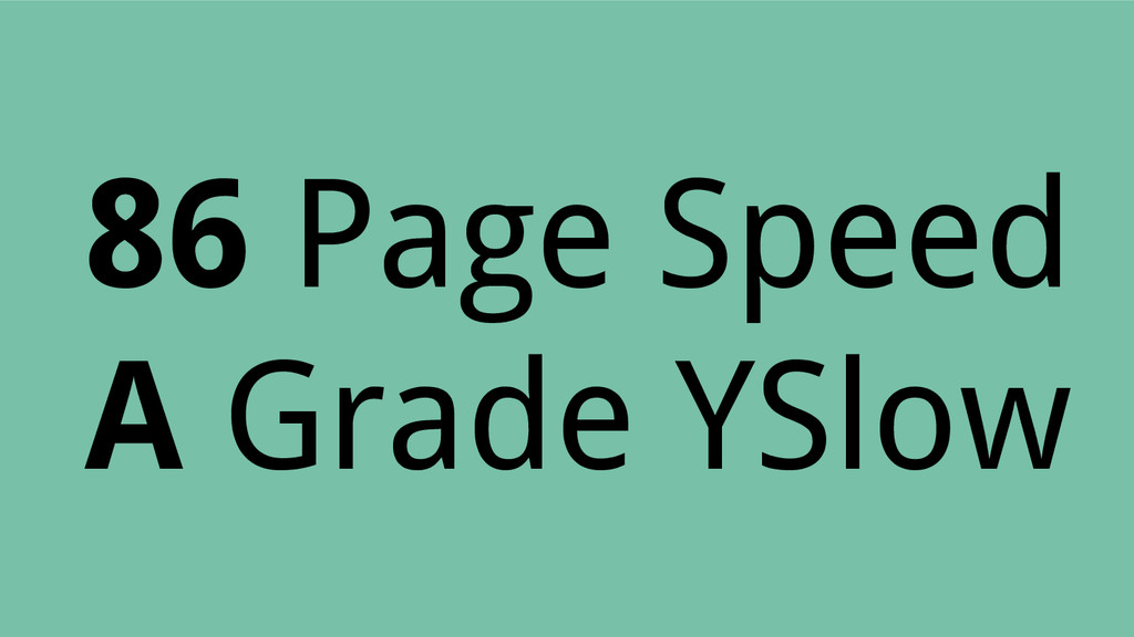 86 Page Speed A Grade YSlow