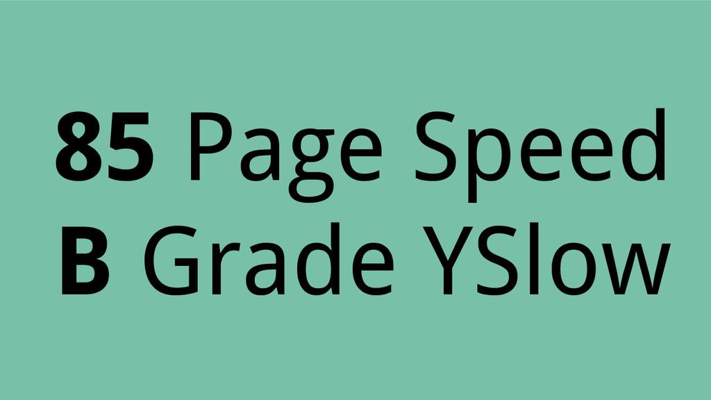 85 Page Speed B Grade YSlow