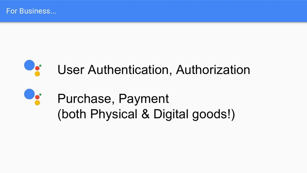 For Business... User Authentication, Authorizat...