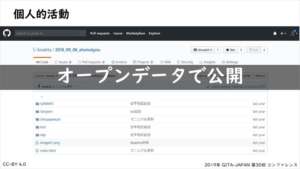 2019年 GITA-JAPAN 第30回 コンファレンス CC-BY 4.0 個人的活動 オ...