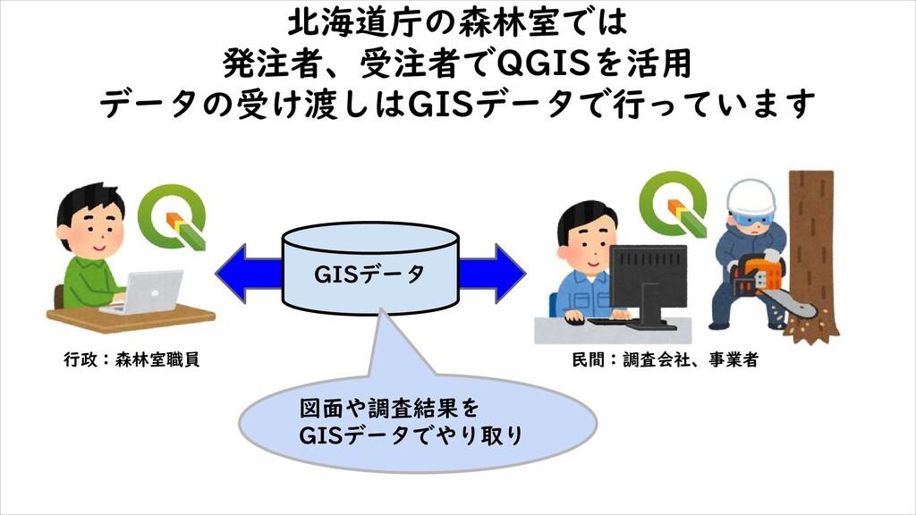 北海道庁の森林室では 発注者、受注者でQGISを活用 データの受け渡しはGISデータで行ってい...