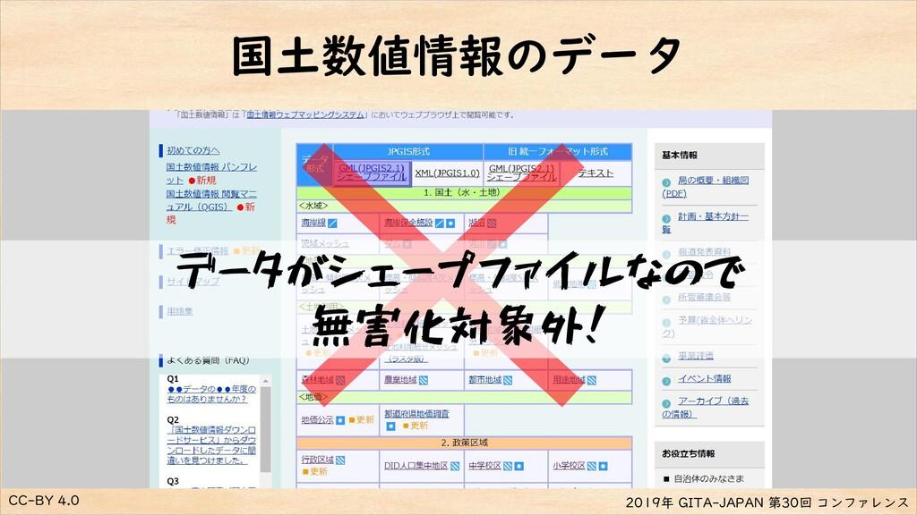CC-BY 4.0 2019年 GITA-JAPAN 第30回 コンファレンス 国土数値情報の...