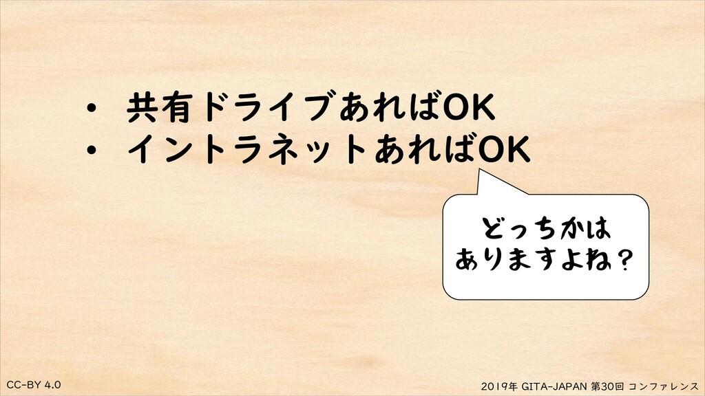 CC-BY 4.0 2019年 GITA-JAPAN 第30回 コンファレンス • 共有ドライ...