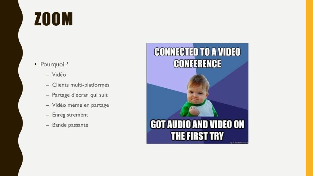 ZOOM • Pourquoi ? – Vidéo – Clients multi-platf...