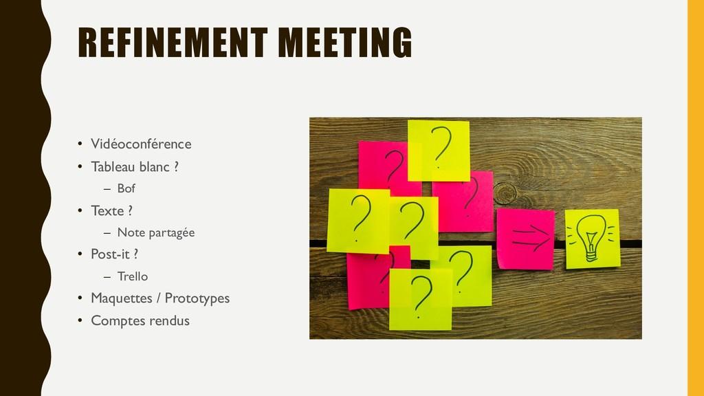 REFINEMENT MEETING • Vidéoconférence • Tableau ...