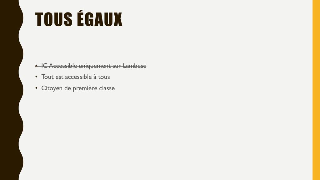 TOUS ÉGAUX • IC Accessible uniquement sur Lambe...