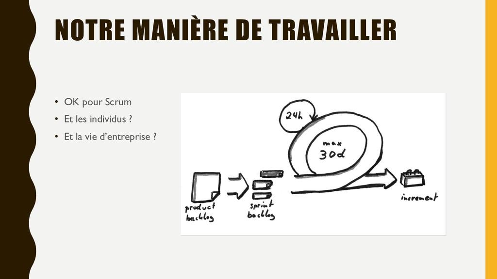 NOTRE MANIÈRE DE TRAVAILLER • OK pour Scrum • E...