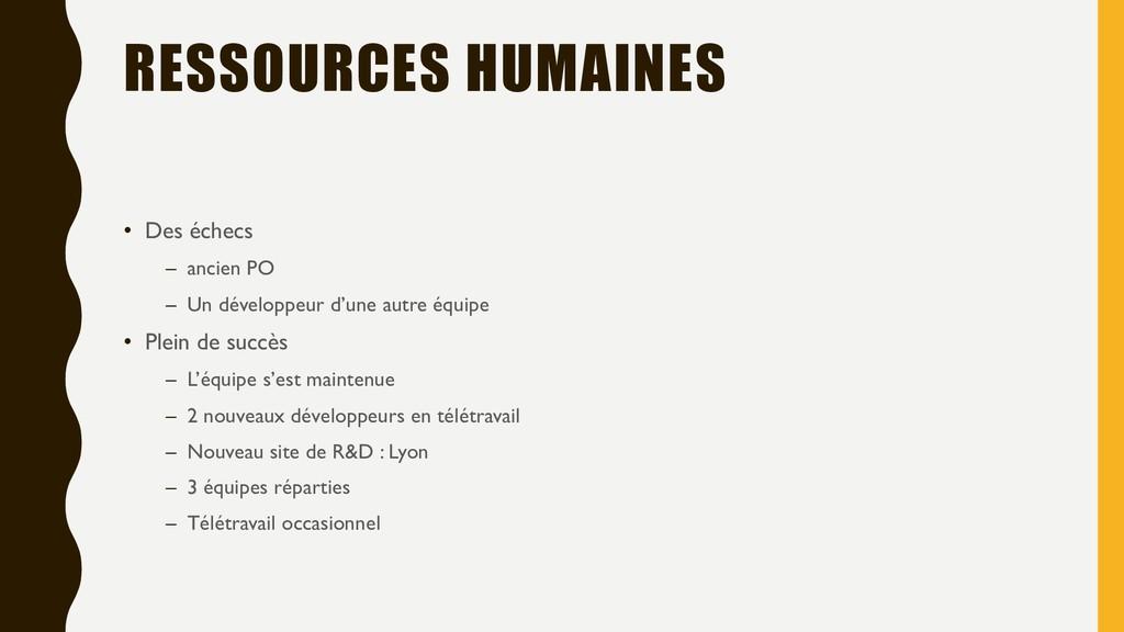 RESSOURCES HUMAINES • Des échecs – ancien PO – ...