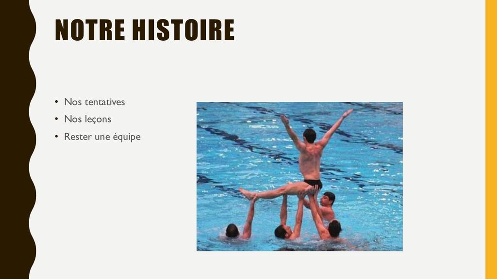 NOTRE HISTOIRE • Nos tentatives • Nos leçons • ...
