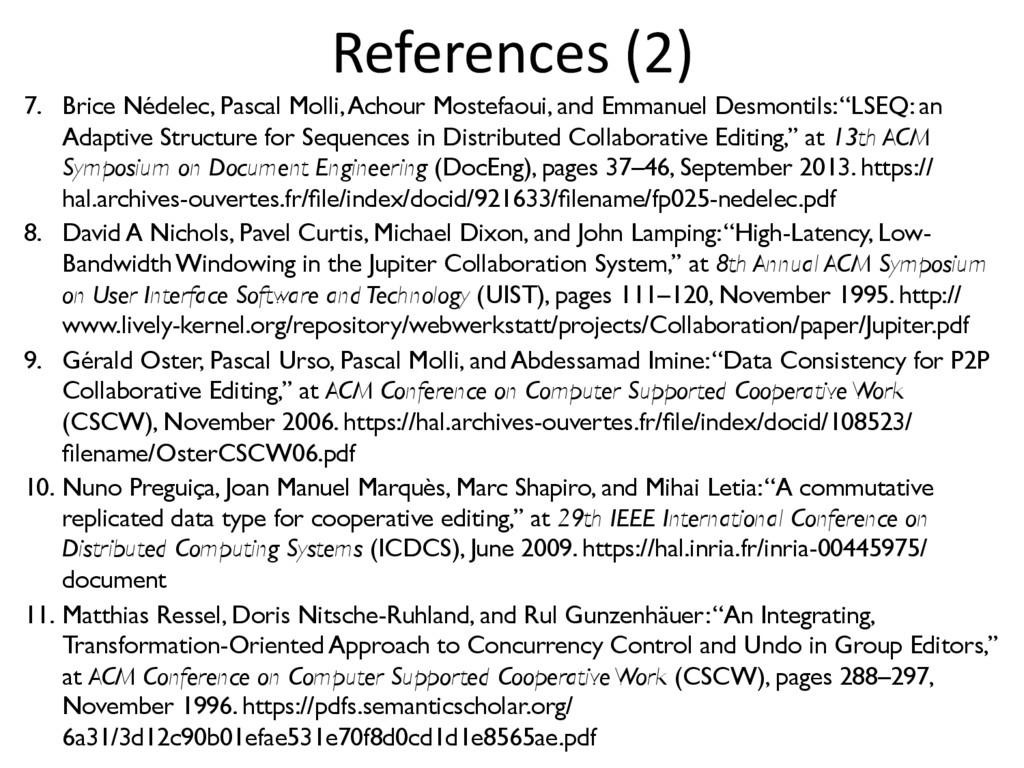 References (2) 7. Brice Nédelec, Pascal Molli,...
