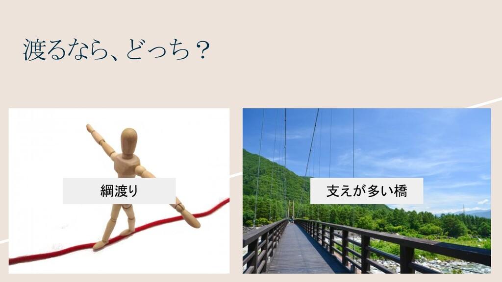 渡るなら、どっち? 綱渡り 支えが多い橋