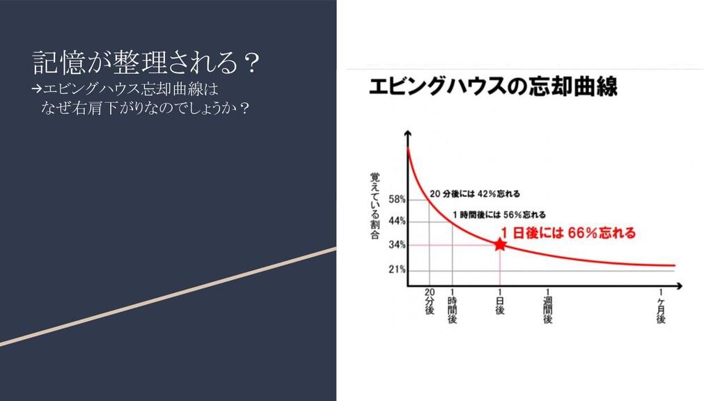 記憶が整理される? →エビングハウス忘却曲線は  なぜ右肩下がりなのでしょうか?