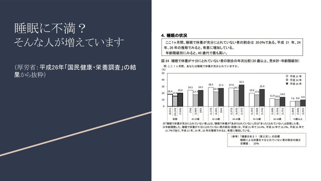 睡眠に不満? そんな人が増えています (厚労省:平成26年「国民健康・栄養調査」の結 果から抜...