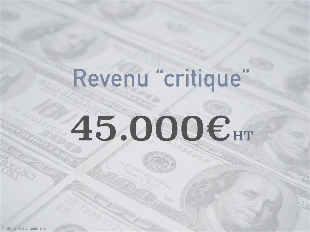 "Revenu ""critique"" 45.000€HT Photo: Ervins Strau..."
