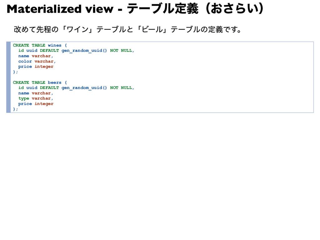 Materialized view - テーブル定義(おさらい) 改めて先程の「ワイン」テーブ...