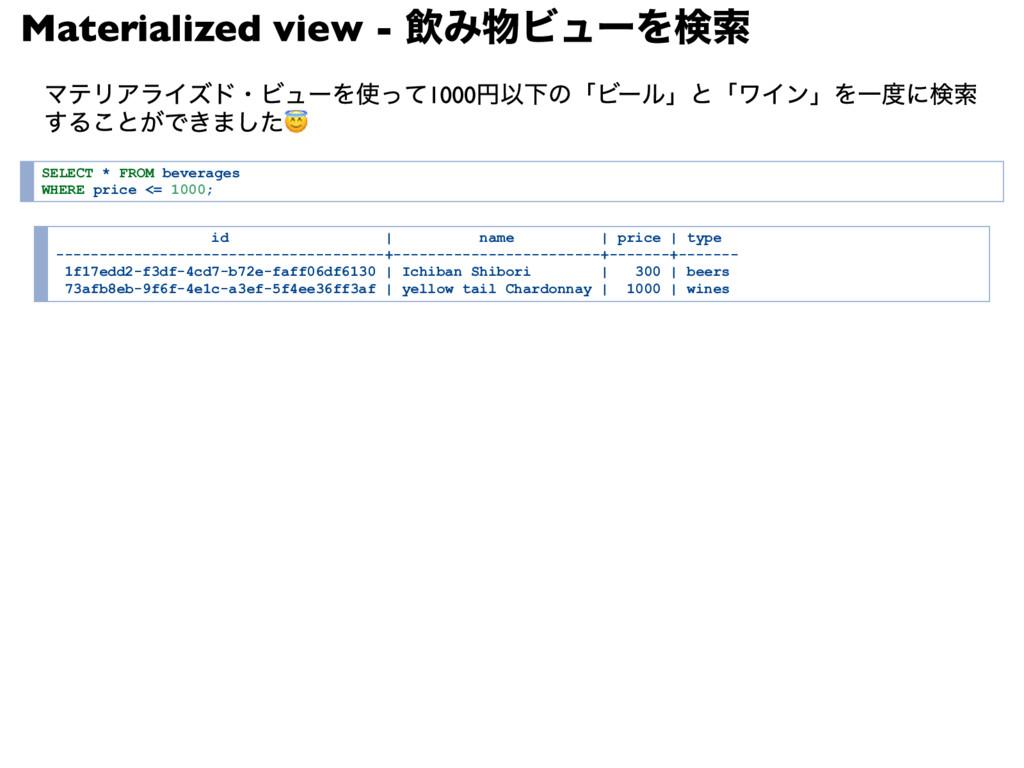 Materialized view - 飲み物ビューを検索 マテリアライズド・ビューを使って1...