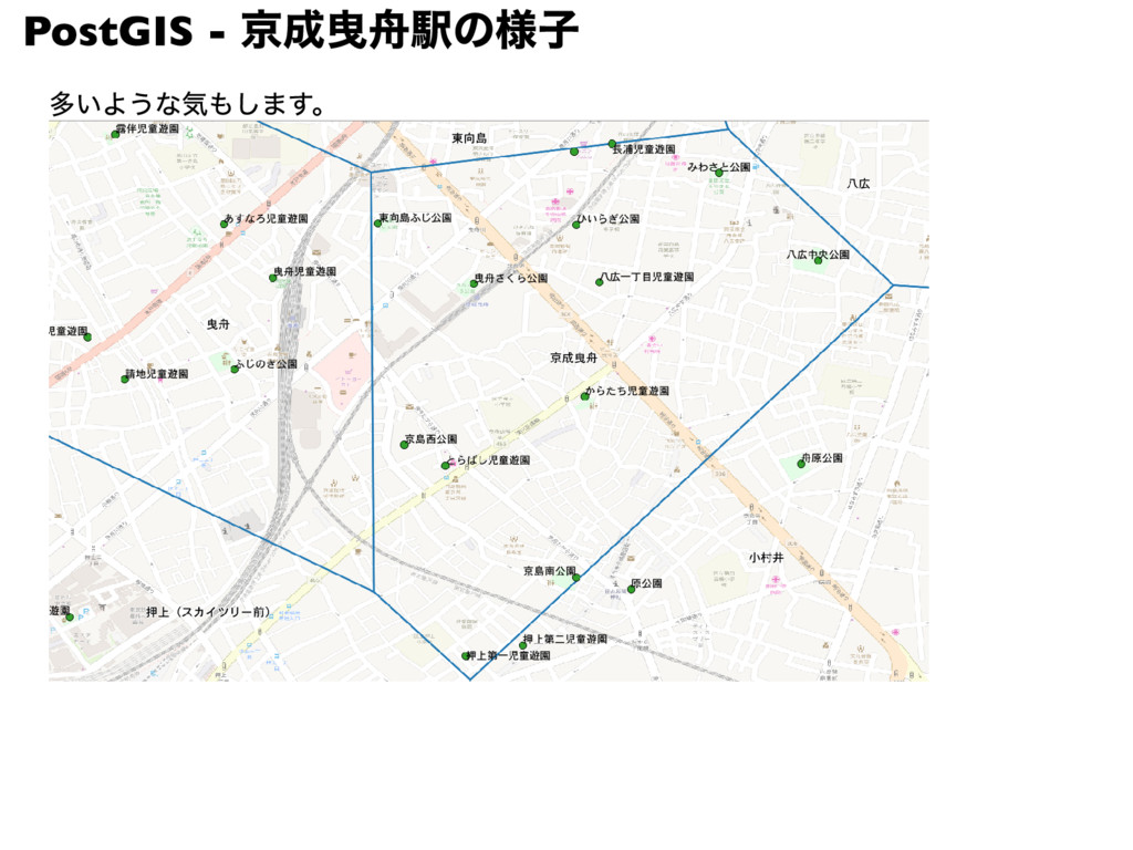PostGIS - 京成曳舟駅の様子 多いような気もします。
