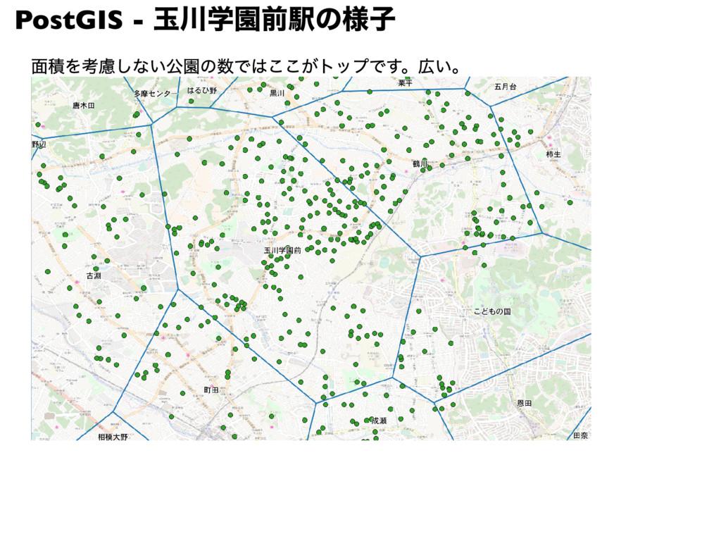 PostGIS - 玉川学園前駅の様子 面積を考慮しない公園の数ではここがトップです。広い。