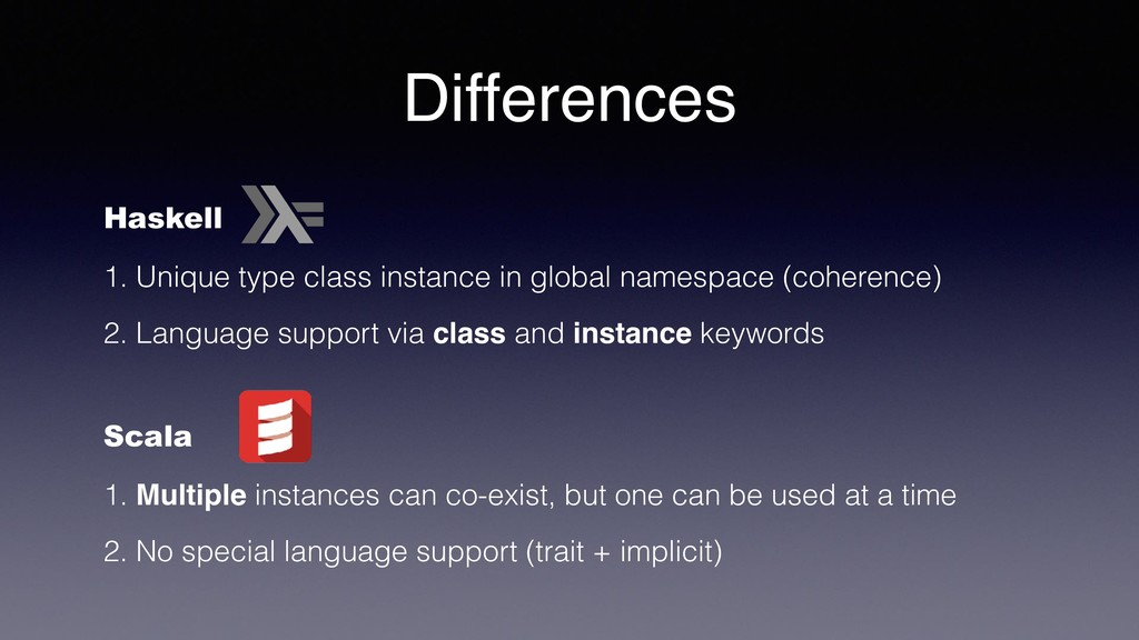Differences Haskell 1. Unique type class instan...