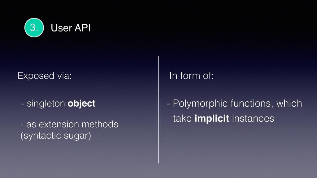 3. User API Exposed via: - singleton object - a...
