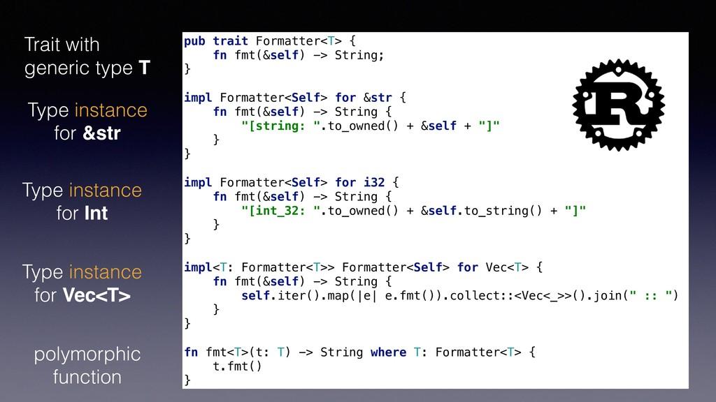 pub trait Formatter<T> { fn fmt(&self) -> Strin...