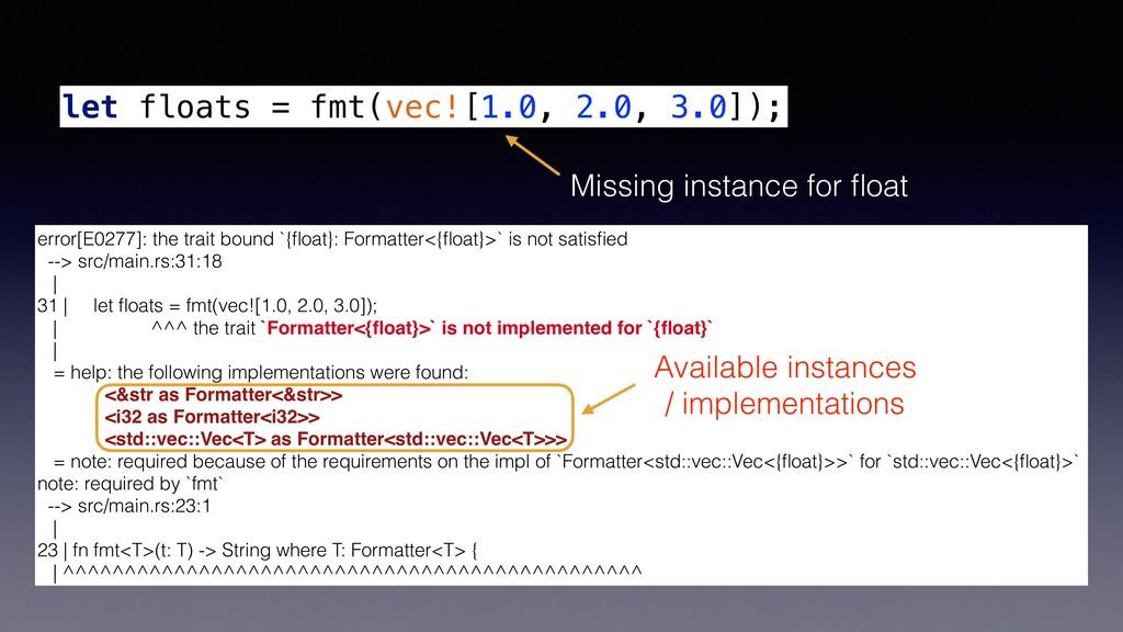 let floats = fmt(vec![1.0, 2.0, 3.0]); error[E0...