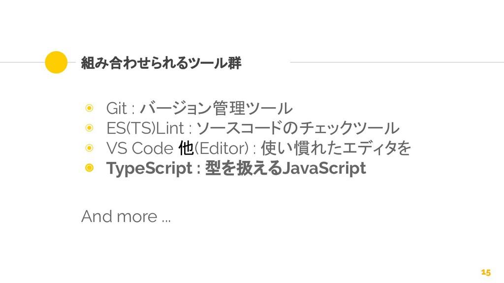 組み合わせられるツール群 ◉ Git : バージョン管理ツール ◉ ES(TS)Lint : ...