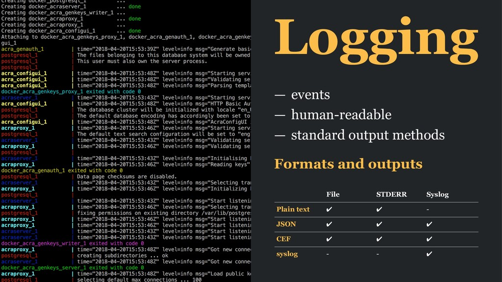 Logging — events — human-readable — standard ou...