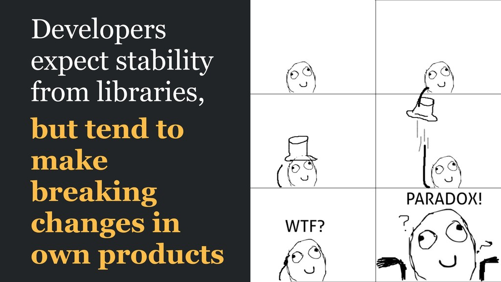 Developers expect stability from libraries, but...