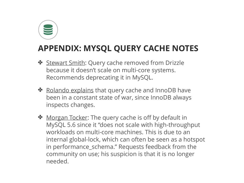 ✤ Stewart Smith: Query cache removed from Drizz...