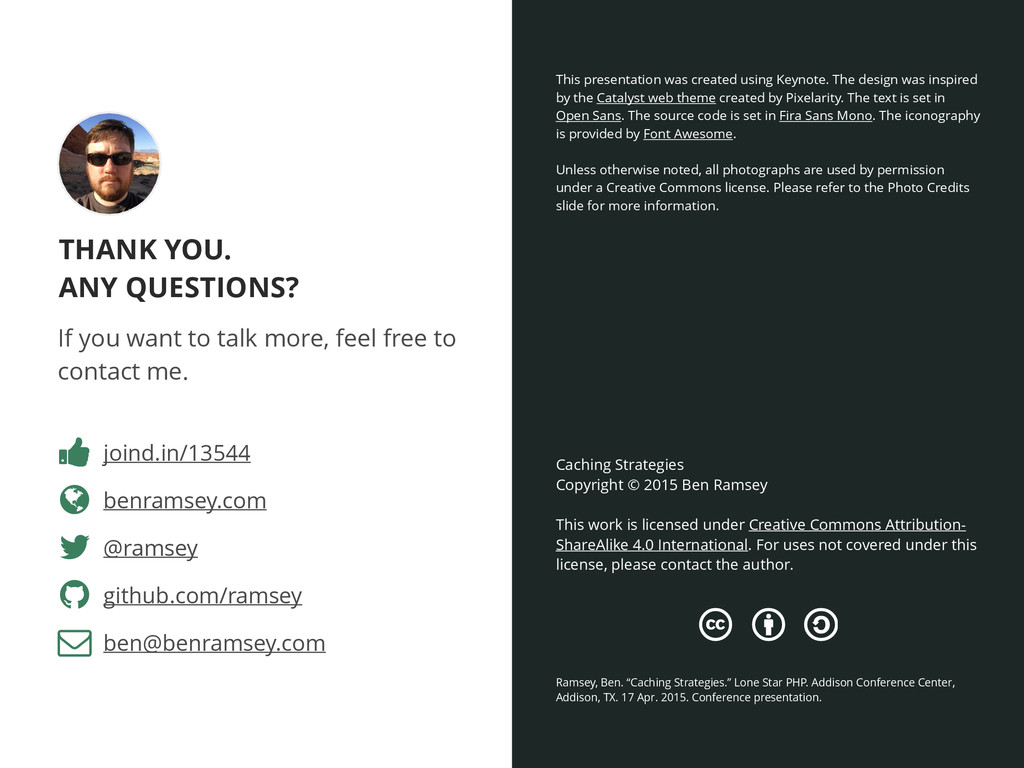 THANK YOU. ANY QUESTIONS? benramsey.com Caching...