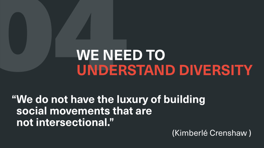 "04 WE NEED TO UNDERSTAND DIVERSITY ""We do not ..."