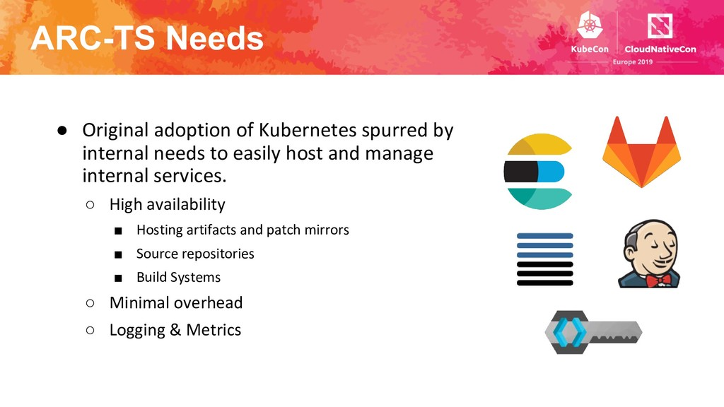 ARC-TS Needs ● Original adoption of Kubernetes ...