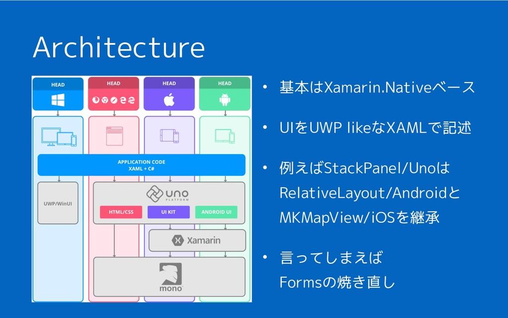 Architecture • 基本はXamarin.Nativeベース • UIをUWP li...