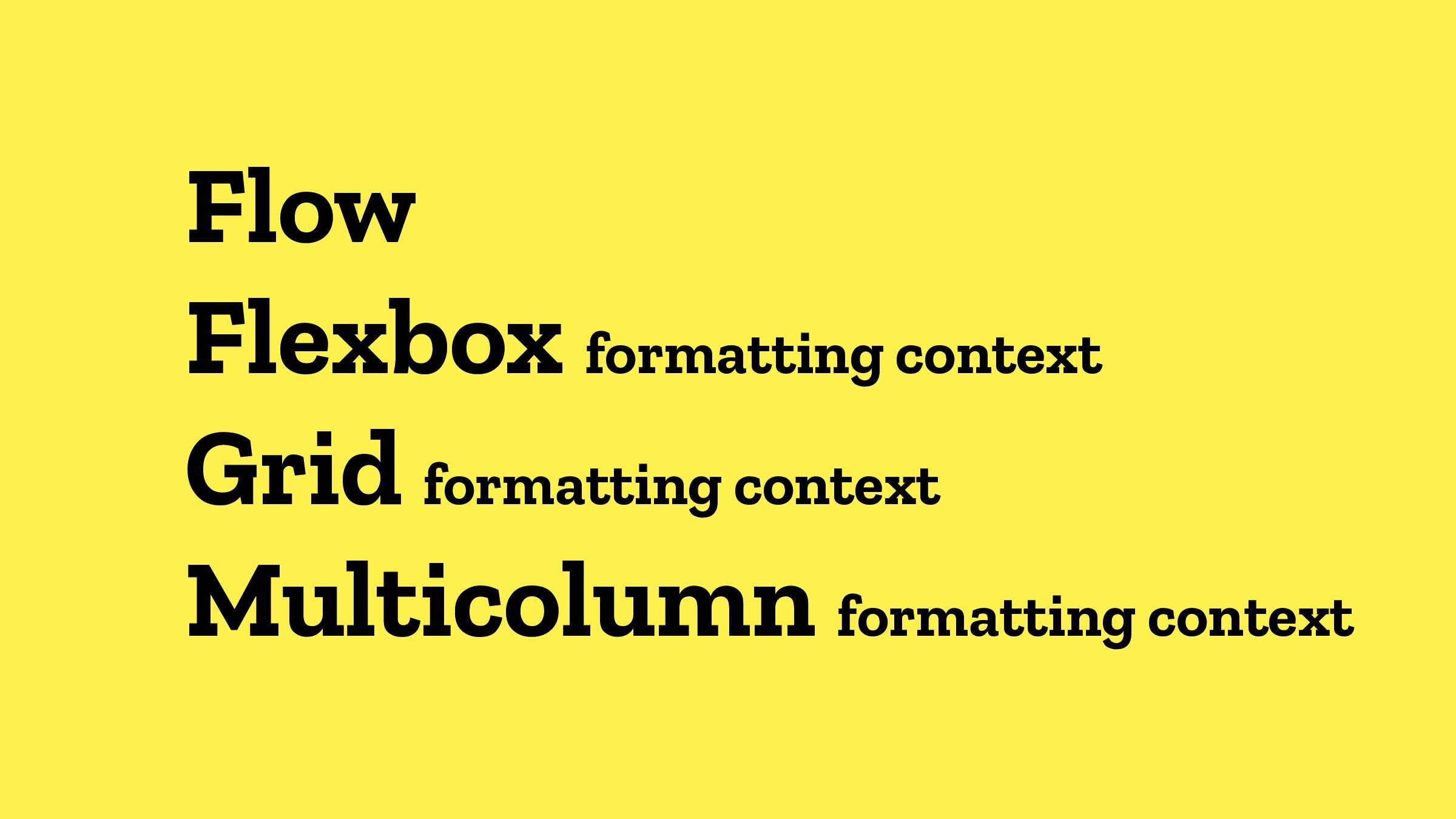 Flow Flexbox formatting context Grid formatting...