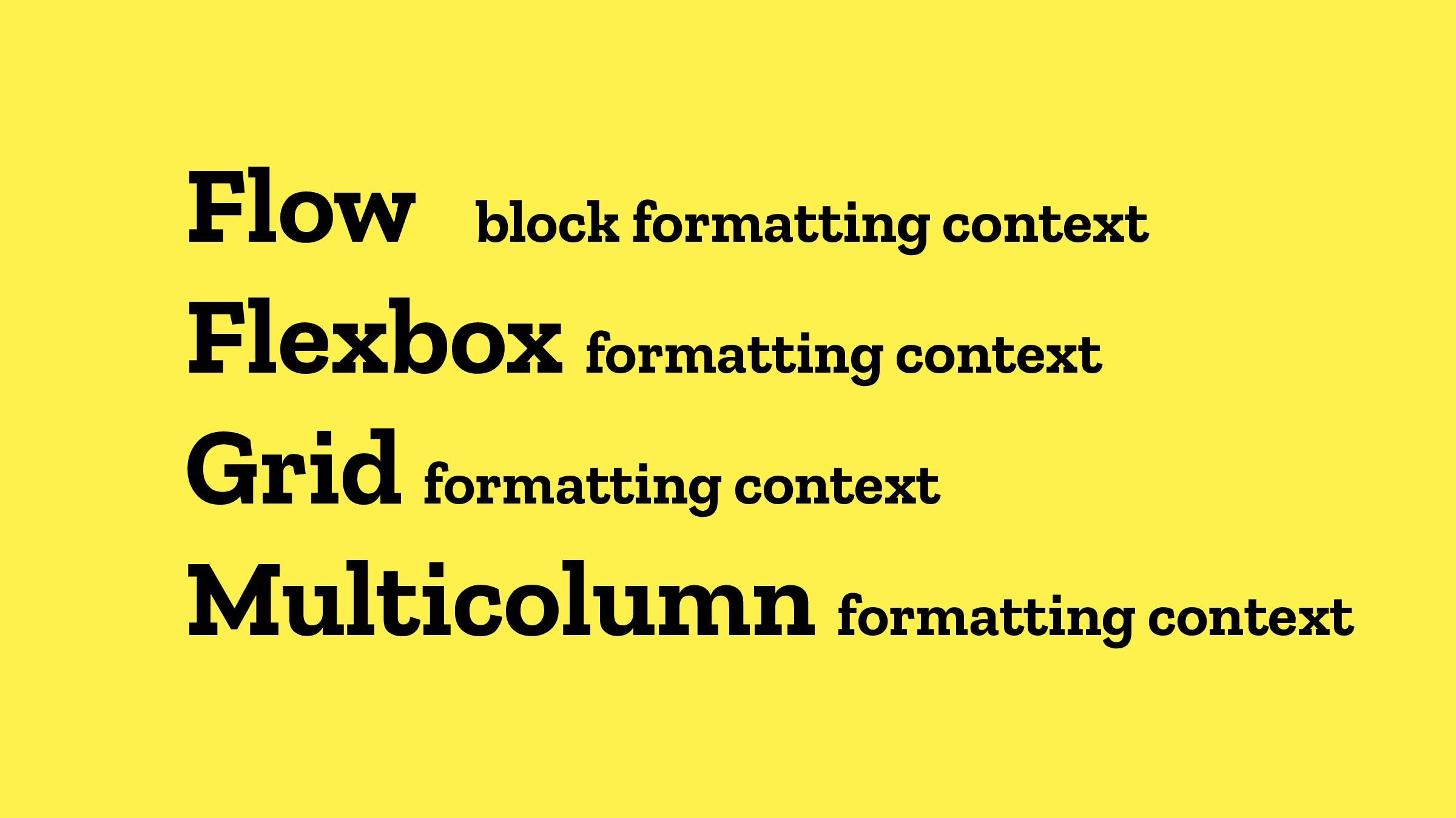 Flow block formatting context Flexbox formattin...