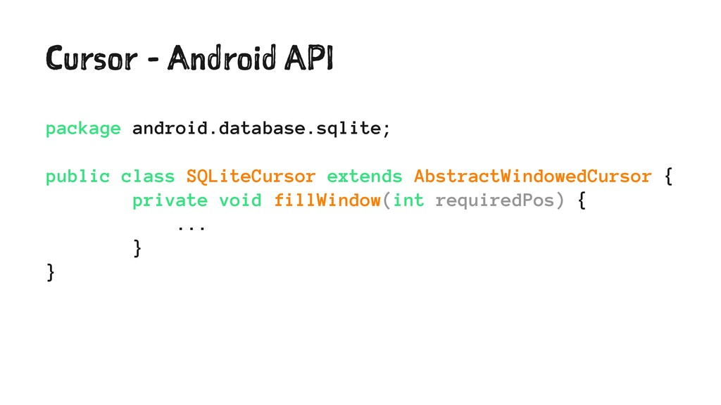 Cursor - Android API package android.database.s...