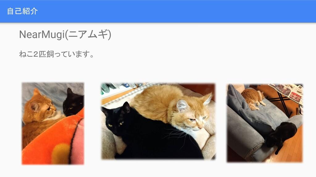 自己紹介 NearMugi(ニアムギ) ねこ2匹飼っています。