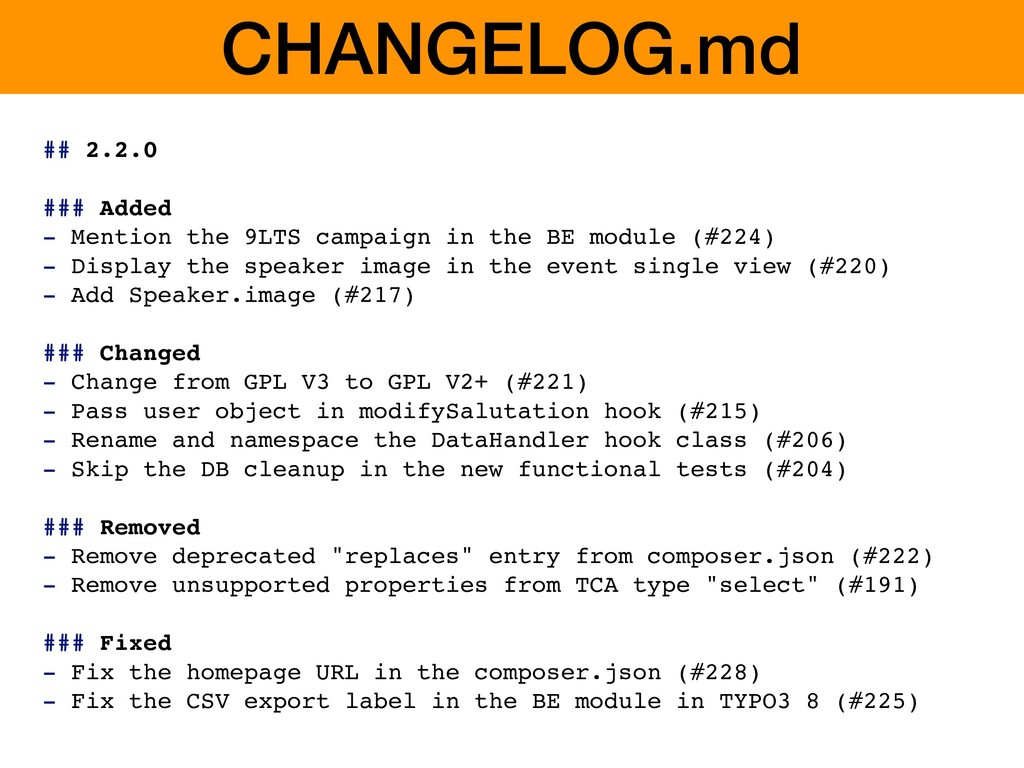 CHANGELOG.md ## 2.2.0 ### Added - Mention the 9...