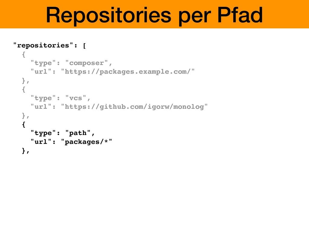 "Repositories per Pfad ""repositories"": [ { ""type..."