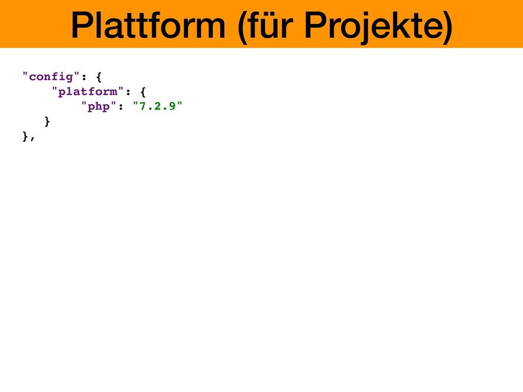 "Plattform (für Projekte) ""config"": { ""platform""..."