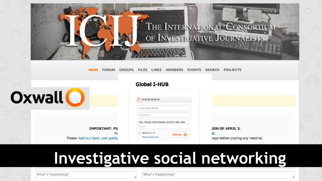 Investigative social networking