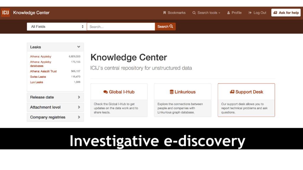 Investigative e-discovery