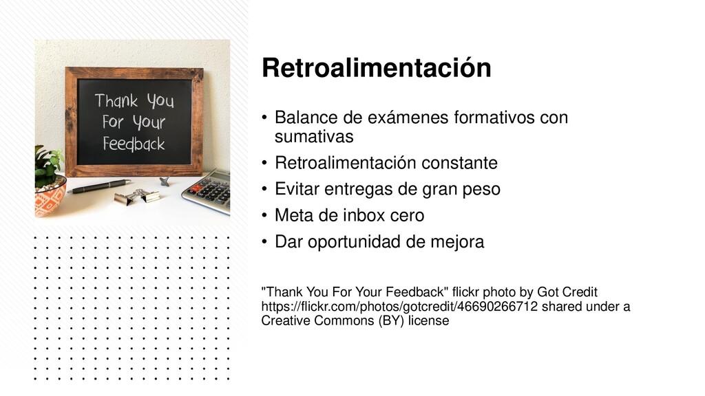 Retroalimentación • Balance de exámenes formati...