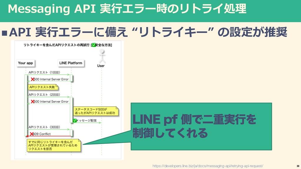 "Messaging API 実⾏エラー時のリトライ処理 nAPI 実⾏エラーに備え ""リトライ..."