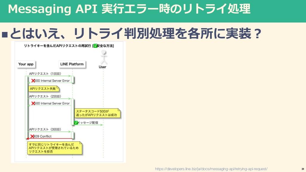 Messaging API 実⾏エラー時のリトライ処理 nとはいえ、リトライ判別処理を各所に実...