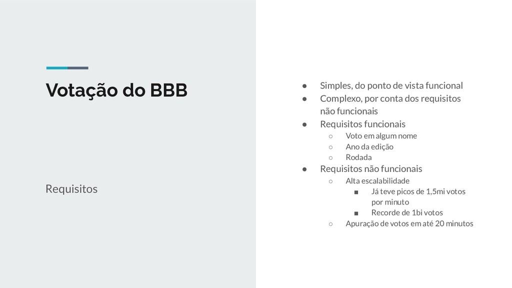 Votação do BBB Requisitos ● Simples, do ponto d...