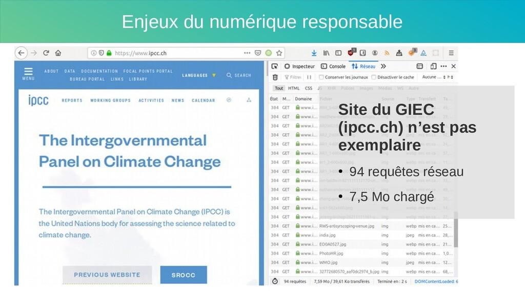 Enjeux du numérique responsable Site du GIEC (i...